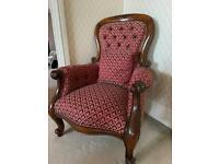 Red Print Dark Oak Armchair
