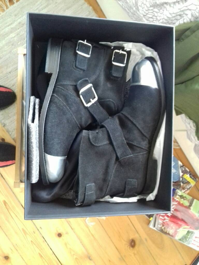 Balmain black and silver suede boots size 41 7.5 UK