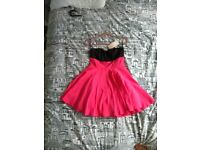 Coral pink colour block dress strapless cocktail / prom dress - size L / 12 brand new