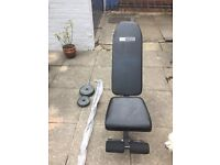 Pro fitness weight bench, barbell and weight set