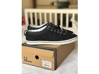 *** Bargain *** BNWB Fred Perry Size 8 UK Mens Charcoal Tweed Trainers Shoes Casual Gift RRP £85