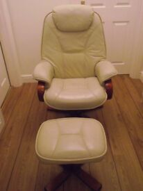 GLOBAL FURNITURE MELBOURNE CREAM LEATHER SWIVEL/RECLINING CHAIR AND FOOT STOOL