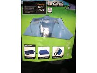 four man tent with 2 double airbeds 4 sleerping bags 2 led lights brand new never been used