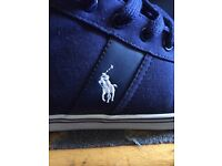 RALPH LAUREN SIZE 10 GENUINE HANFORD MID NEWPORT NAVY CANVAS TRAINERS