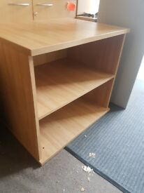 Oak effect low office bookshelves / low deep office shelving unit