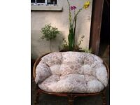 Conservatory outdoor sofa, garden sofa, wicker, cane, 2 seater sofa