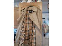 Man's genuine vintage Burberry coat stone colour, size 52R