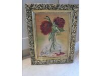 Signed Oil Painting of Red Flowers in Vase