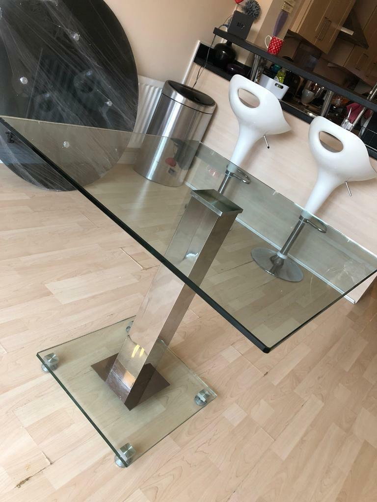 square glasschrome diningkitchen table  in anstey