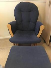 Gliding nursing chair and foot stool