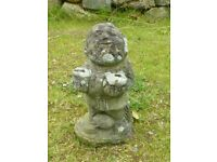 Vintage Cast Stone Man with Sacks Garden Ornament Statue Like a Gnome