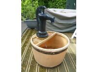 garden water feature waterfall barrel outdoor patio with pump