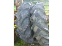 2 Massey 35 original tyres and rims, timber and also beams