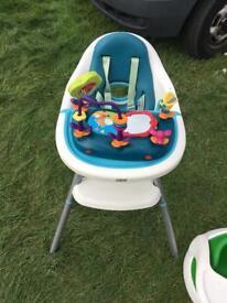 Mamas and papas high chair & snug seat plus play tray