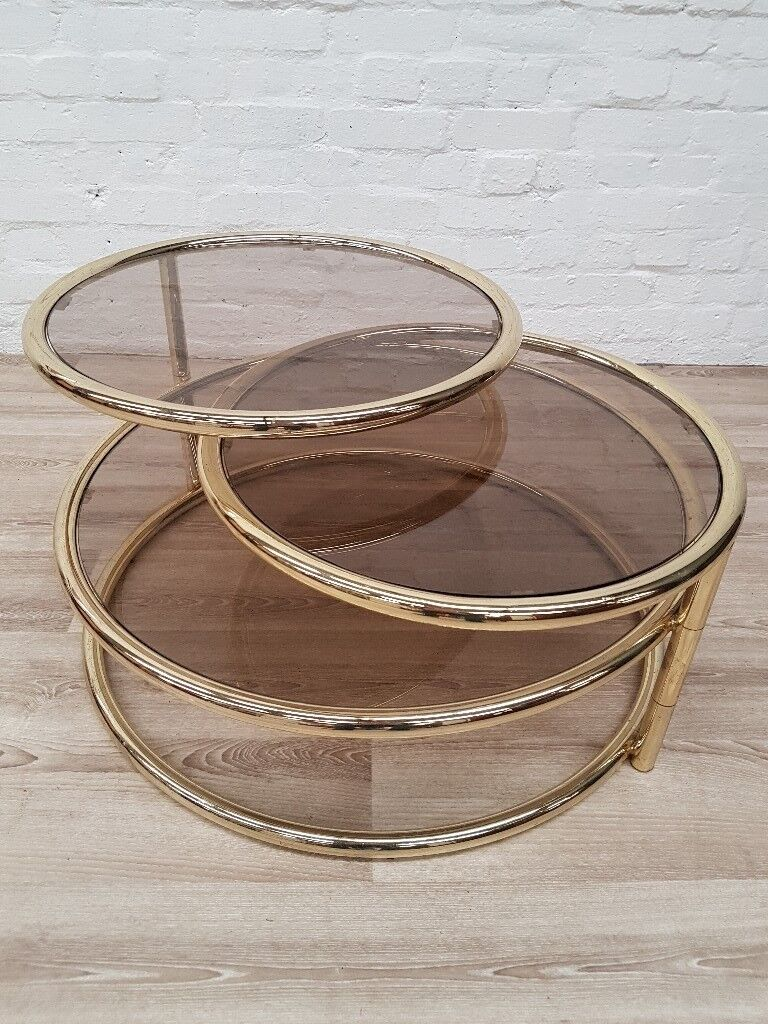 Mid Century Milo Baughman Style Three Tiered Brass Glass Swivel Coffee Table Delivery Available