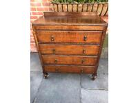 Nice Antique Solid Oak Four Drawer Chest Of Drawers