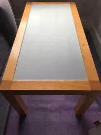 Solid wood coffee table with frosted glass