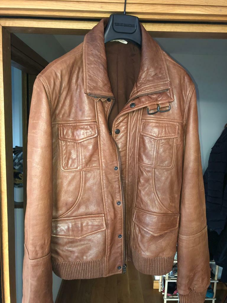 DKNY Jeans Brown Leather Jacket Mens Large | in Belfast City Centre,  Belfast | Gumtree
