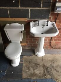 Pedestal Washand Basin and Close Coupled Toilet Complete and in full working order
