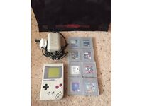Gameboy Original, 8 Games, Power Pack and Nintendo Bag
