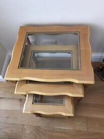 Oak nest of tables x3