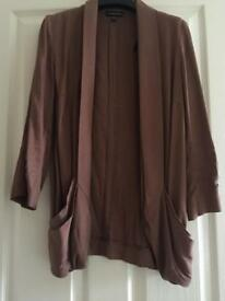 Warehouse smart waterfall jacket blazer brown size 8