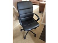 Black Leather effect Gas Lift Office Chair