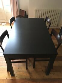 IKEA Bjursta extendable dining table and 4 chairs