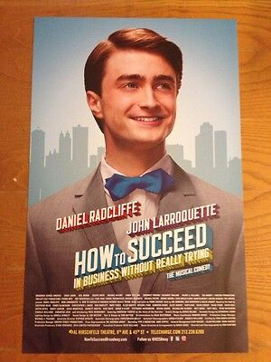 Daniel Radcliffe  Harry Potter   How To Succeed Window Card Poster Broadway Mint