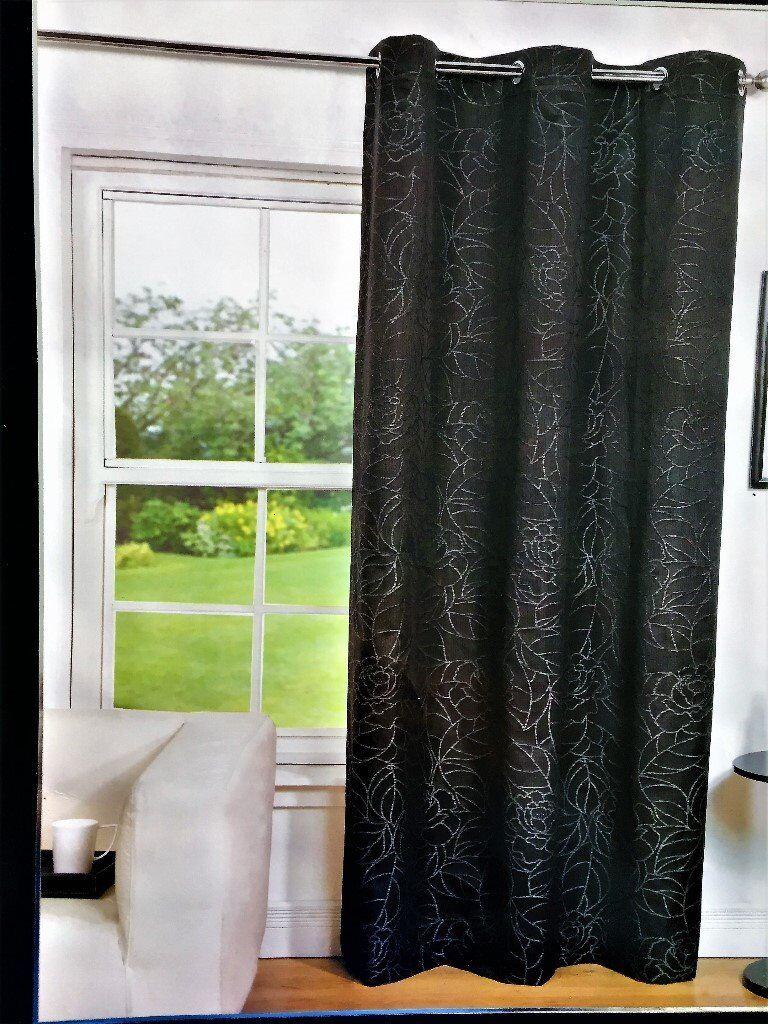 New Black Eyelet Curtains, 144 x 228