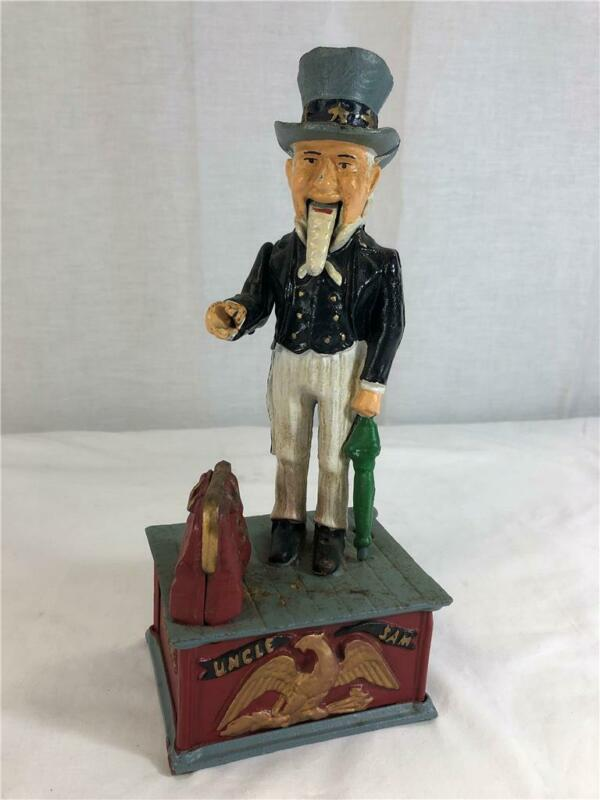 Vintage Cast Iron Uncle Sam Piggy Bank