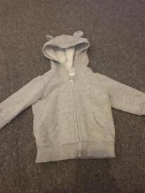 Grey hooded jacket 3-6 months