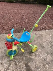 Vtech push along trike with basket and music