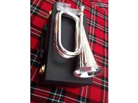 Military bugle, Army Bugle, Sea Cadet Bb Bugle Silver Plated Tune able, British Army Style Bb Bugle