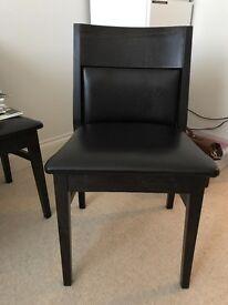 Dark Wood & Dark Leather Dining Chair