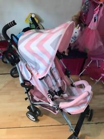 My babiie billie fairs pink chevron stroller