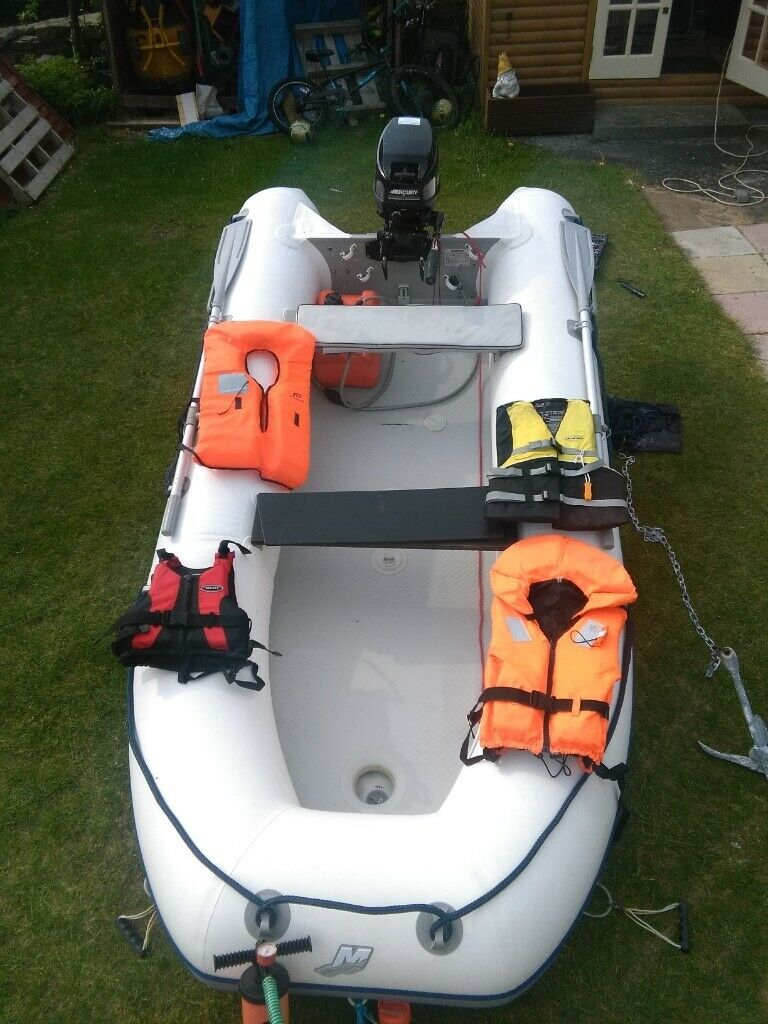 Quicksilver Airdeck 340 AND 15hp Mercury Outboard Motor boat water jet ski  sports beach dinghy rib | in Burnley, Lancashire | Gumtree