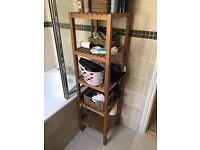 Wooden bathroom shelving unit with 5 shelves