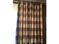 Checkered brown & cream curtains (brand new)