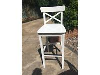 High wooden white kitchen stool