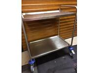 Blanco stainless steel 2 shelf serving trolley.