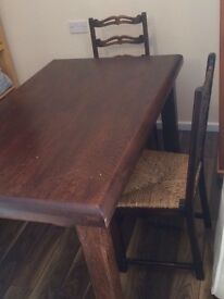 Solid wood Dining table +chairs