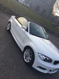 White BMW 1-Series convertible 118d m sport