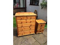 Pine chest of drawers on wheels with bedside cabinet, £50