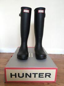 HUNTER Wellies Black Tall UK 4 Matt Finish Women Boots + EXTRA set of Neo Nail (base hard, top hard)