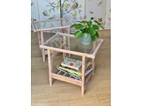 Pair of boho bamboo tables