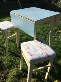 NOW REDUCED. Upcyclec 1960's table and stools