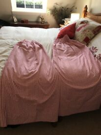 Set Pink and White Gingham Curtains