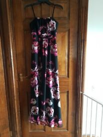 Strapless Debut Black Floral Maxi Dress