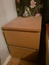 2x Ikea bedside tables drawers